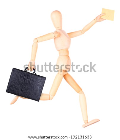 wooden Dummy with case and envelope  Isolated on a white backgrond - stock photo