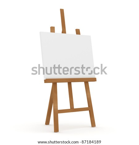 Wooden Easel on white background - stock photo