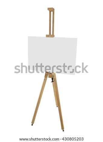 wooden easel with blank picture canvas isolated on white background - stock photo