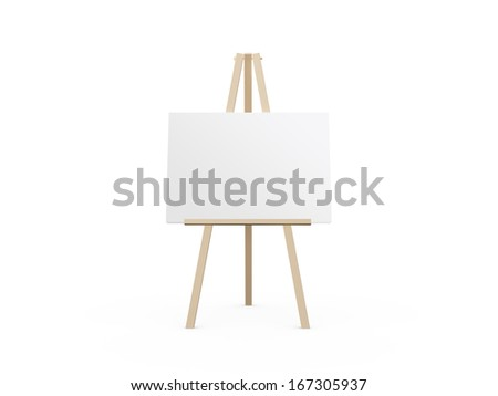 Wooden easel with blank white canvas, front view, isolated on white background. - stock photo