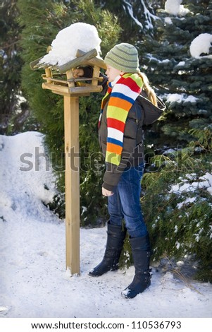 Wooden feeder for birds in snowy garden - stock photo