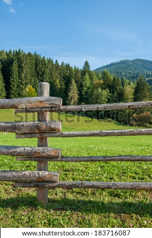 Wooden fence at ranch - stock photo