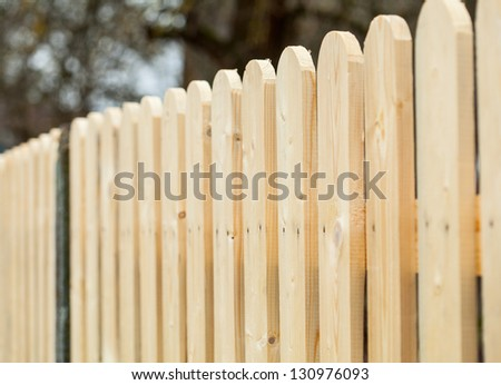 Wooden fence - closeup shot - stock photo