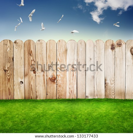Wooden fence in a green grass - stock photo