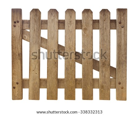 Wooden fence isolated on white. Clipping path included. - stock photo