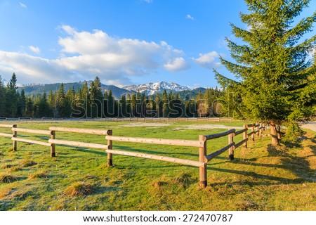 Wooden fence on pasture in Chocholowska valley in spring season, Tatra Mountains, Poland - stock photo