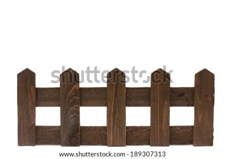 wooden fence on white background - stock photo