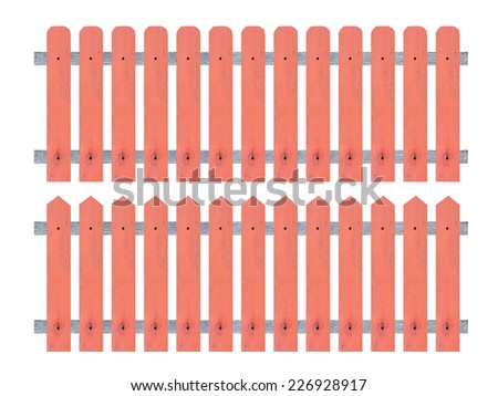 wooden fence over the white background - stock photo