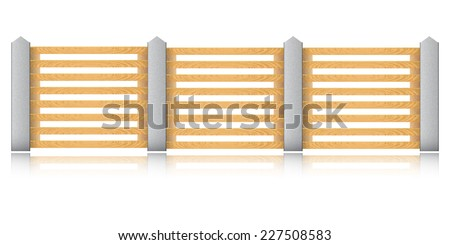 Wooden fence with concrete columns on a white background. Raster copy - stock photo