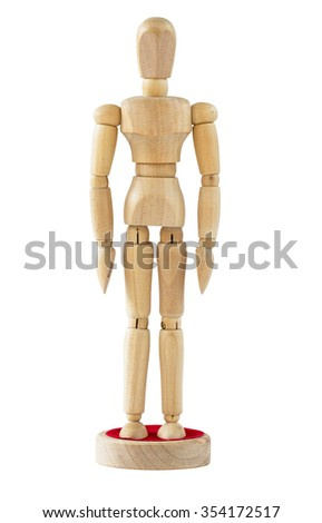 Wooden figure,isolated on white  - stock photo