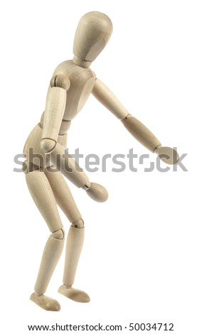 Wooden figure running isolated on white - stock photo