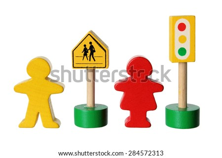 Wooden Figures with Traffic Lights on White Background  - stock photo