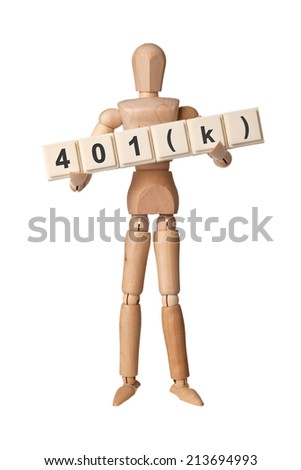 Wooden figurine with the letters 401(k) isolated on white background  - stock photo