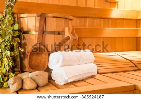 wooden Finnish sauna, shooting objects in the the empty steam room - stock photo