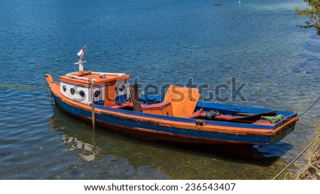 Wooden fishing boat of Puerto Montt, Chile - stock photo