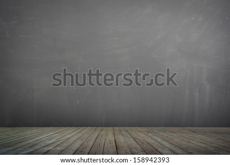 wooden floor and concrete wall background textured  - stock photo