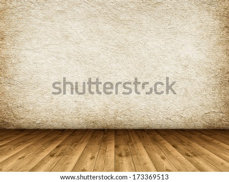 Wooden floor and grunge wall - stock photo