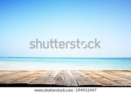 wooden floor and summer landscape of sea  - stock photo