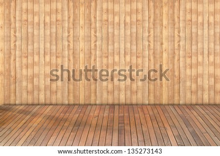 Wooden floor and wooden walls background - stock photo