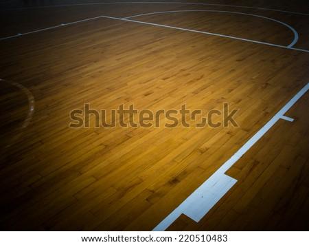 wooden floor basketball  - stock photo