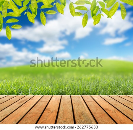 Wooden floor with Green leaves and Green grass on the blurred  - stock photo