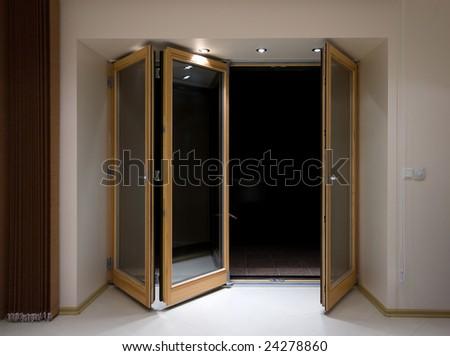 Wooden folding doors with lighting - stock photo