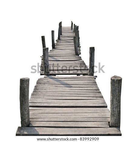 wooden foot bridge isolated on a white background - stock photo