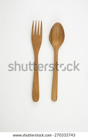 wooden fork and spoon retro - stock photo