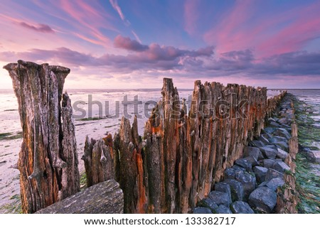 Wooden fortification - stock photo