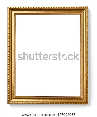 wooden frame for painting or picture on white background with clipping path - stock photo