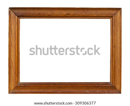Wooden frame for picture isolate on white background with clipping path - stock photo