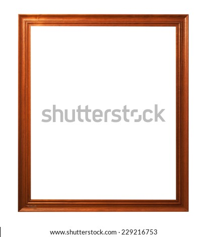 Wooden frame isolated on white background. - stock photo