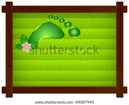 Wooden frame with a dark green background of cellular, human footprint and flower - stock photo