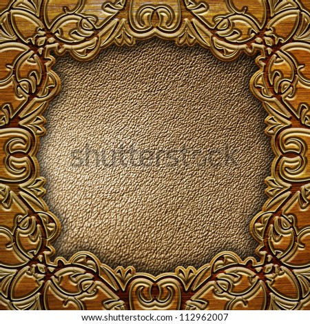 wooden frame with leather background - stock photo
