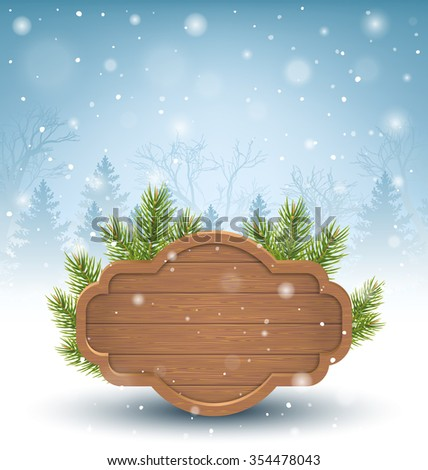 Wooden Frame with Pine Branches in Snow on Blue Background - stock photo