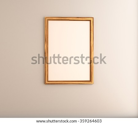 Wooden frame with space on creamy white wall. - stock photo