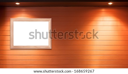 Wooden frame with wood background - stock photo