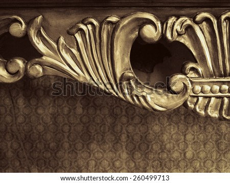 Wooden Furniture Ornamental Element in Beige - stock photo