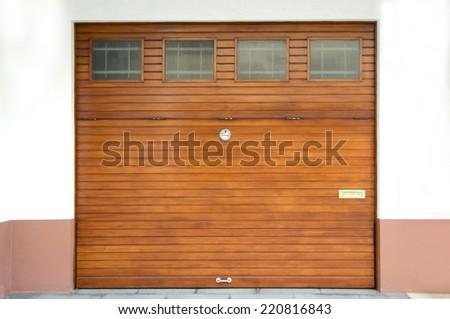 wooden garage gate  - stock photo