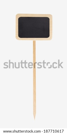wooden garden sign with black chalkboard, isolated - stock photo