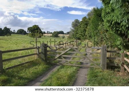 Wooden gate, Levington, Suffolk, England - stock photo