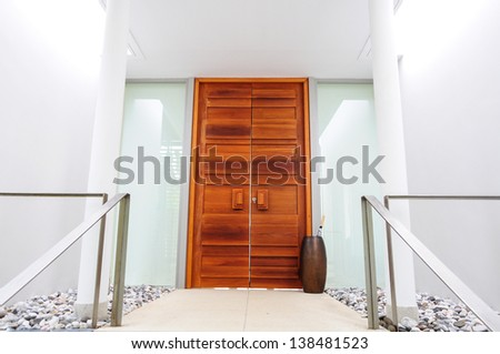 wooden gate, modern style - stock photo