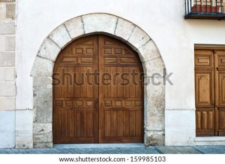 Wooden gates in Alcala de Henares, Madrid - stock photo
