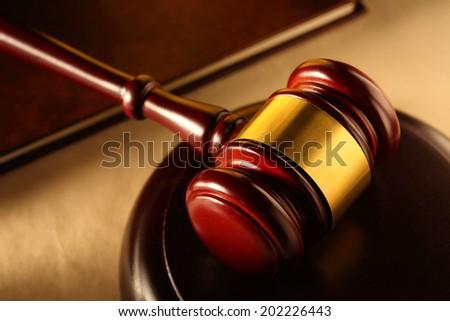 Wooden gavel and block closeup - stock photo