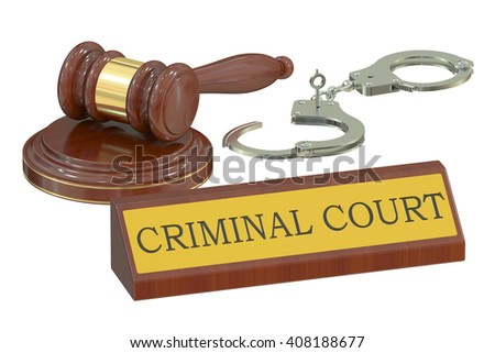 Wooden gavel and handcuffs, criminal court concept. 3D rendering - stock photo