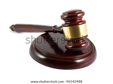Wooden gavel and sound block isolated on white background - stock photo