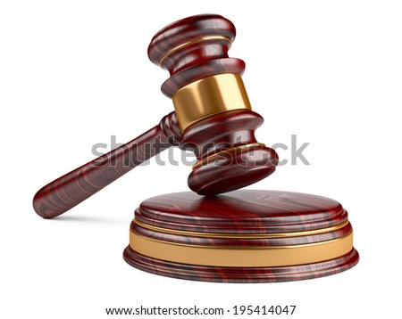 Wooden gavel and soundboard on white background. LAW concept - stock photo
