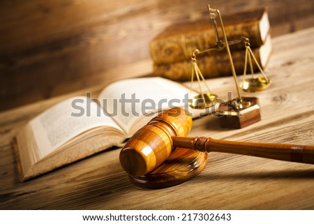 Wooden gavel barrister, justice concept - stock photo
