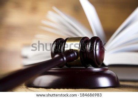 Wooden gavel barrister, justice concept, legal system  - stock photo