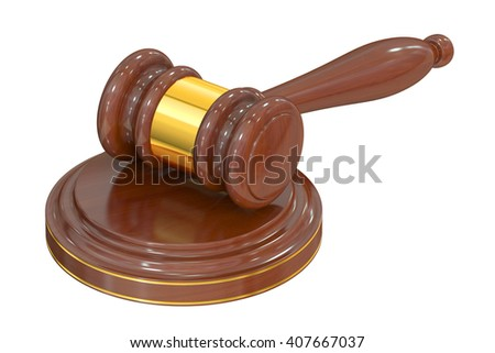 Wooden Gavel, 3D rendering isolated on white background - stock photo